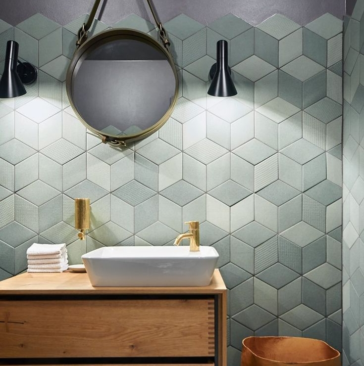 diamond olive textured wall tiles