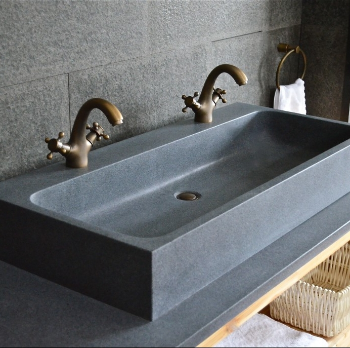 black granite bench top & basin