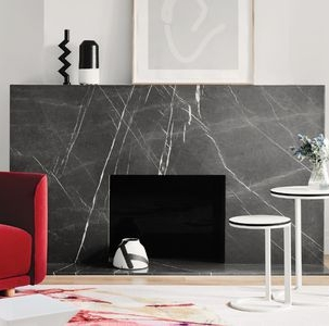grigio marble fireplace